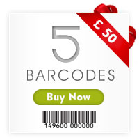 Buy 5 barcodes in £45 only